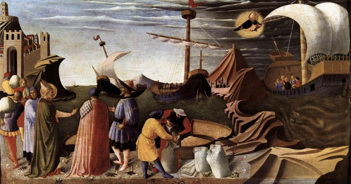 The Story of St. Nicholas: St. Nicholas saves the ship - Fra Angelico