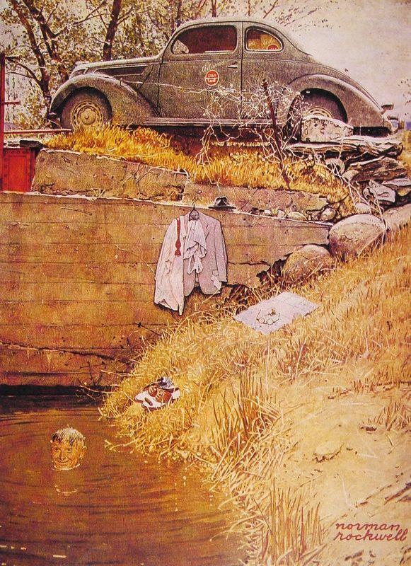 The Swimming Hole - Norman Rockwell