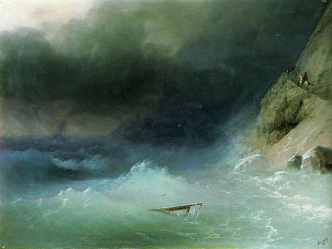 The Tempest near rocks - Ivan Aivazovsky