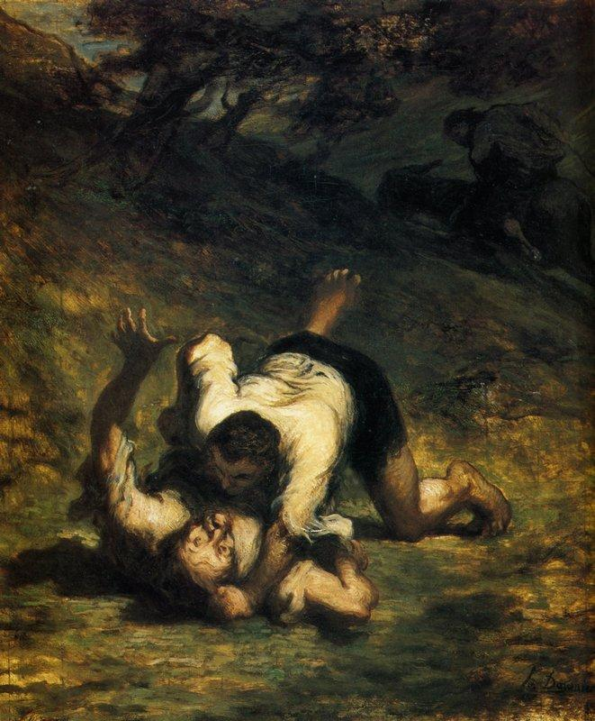 The Thieves and the Donkey - Honore Daumier
