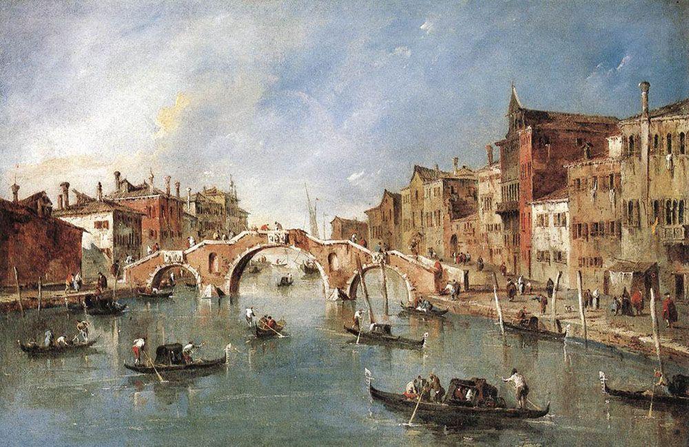 The Three Arched Bridge at Cannaregio - Francesco Guardi