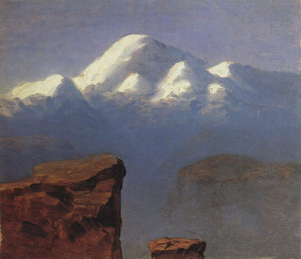 The top of Mount Elbrus in the Sunlight - Arkhip Kuindzhi