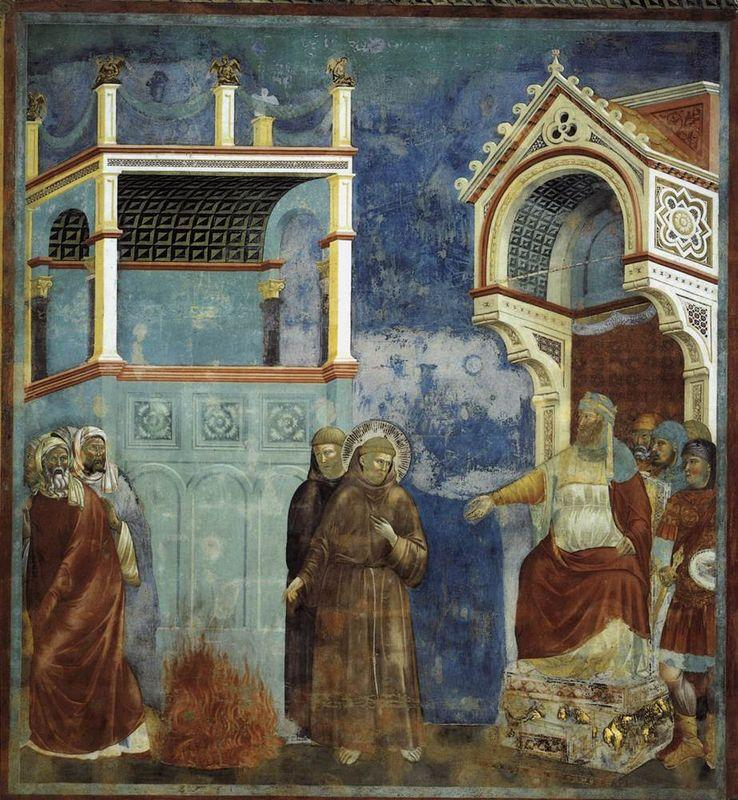 The Trial by Fire, St. Francis offers to walk through fire, to convert the Sultan of Egypt - Giotto