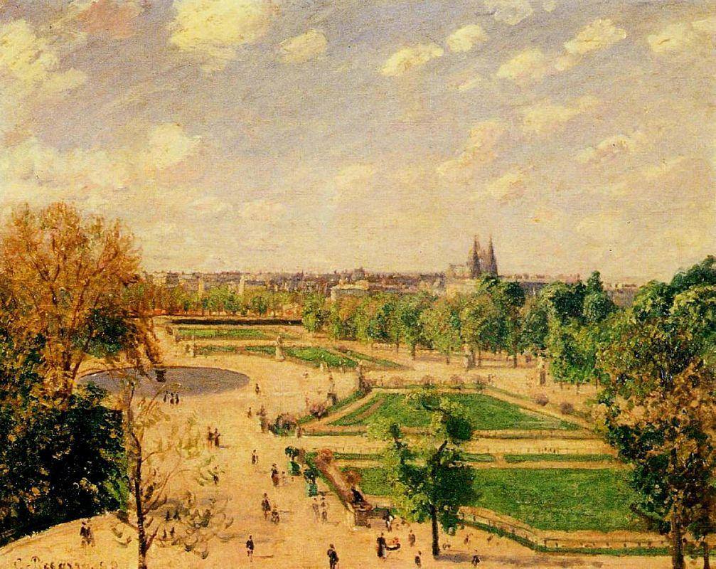 The Tuilleries Gardens Morning, Spring, Sun - Camille Pissarro
