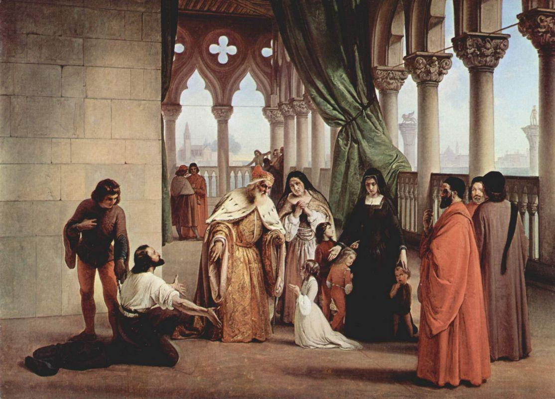 The Two Foscari: Francesco Foscari, Doge of Venice and his family - Francesco Hayez