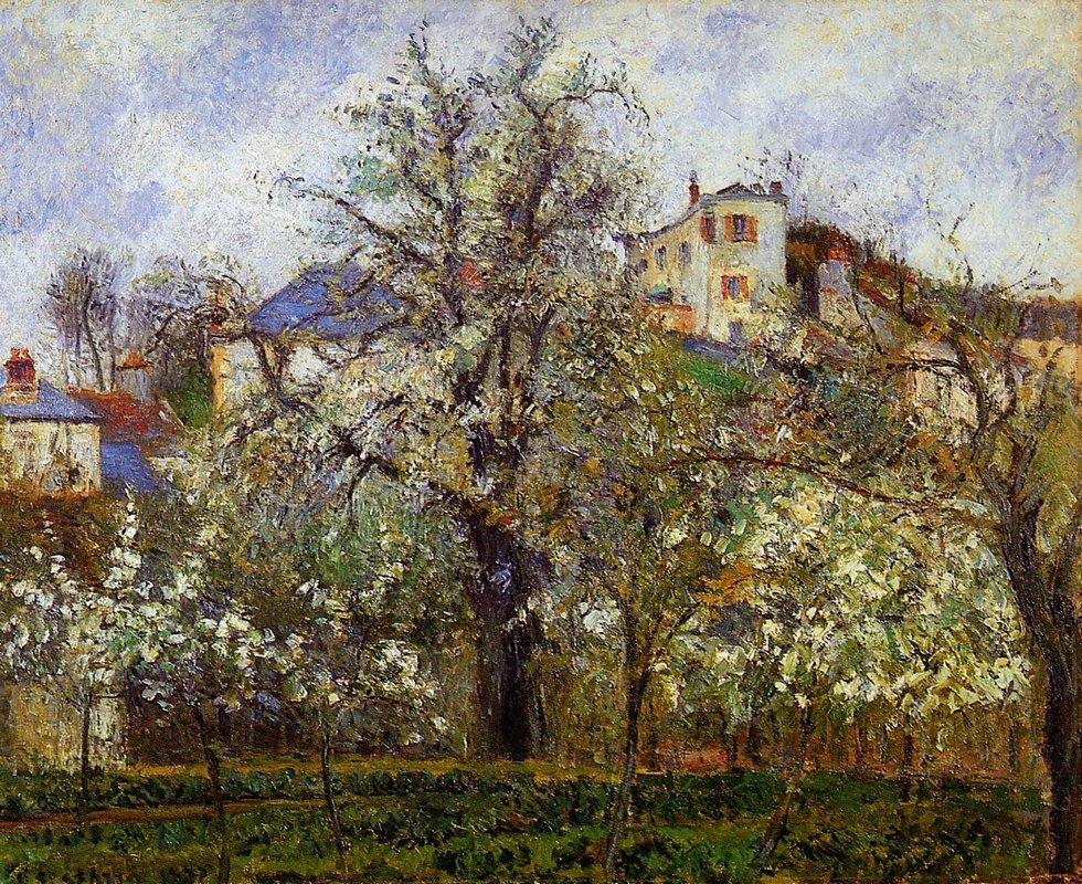 The Vegetable Garden with Trees in Blossom, Spring, Pontoise - Camille Pissarro