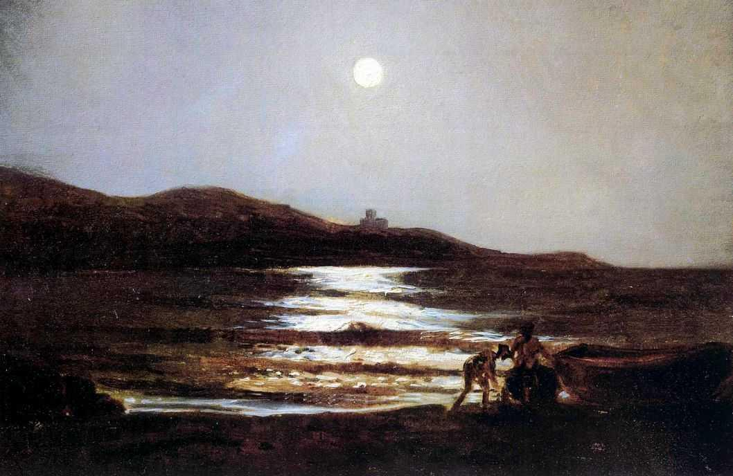 The view from Santo Terenzo at Lerici by night - Nikolai Ge