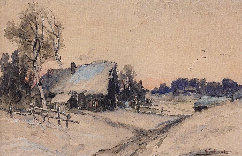 The village in winter - Aleksey Savrasov