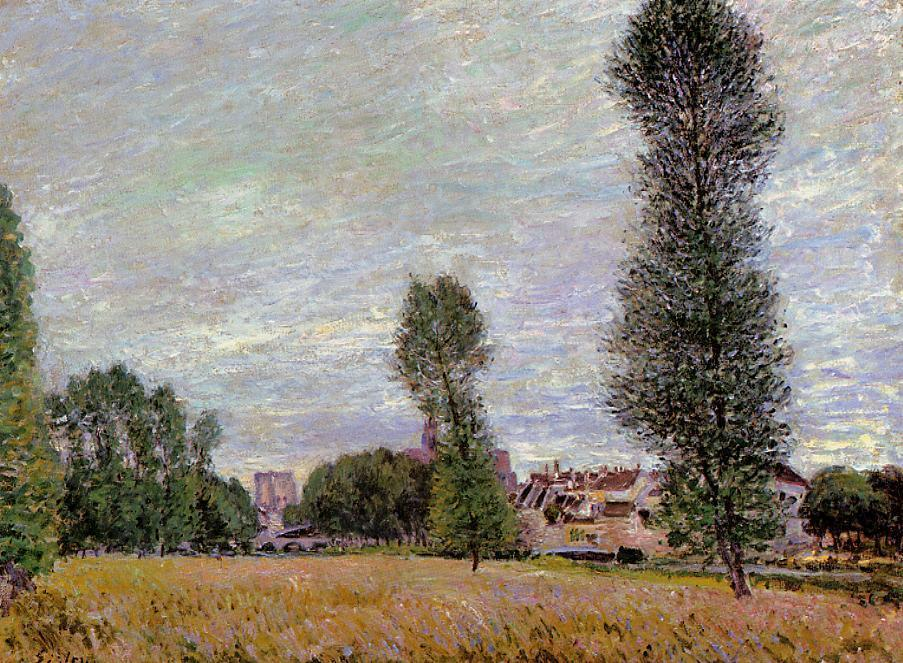 The Village of Moret, Seen from the Fields - Alfred Sisley