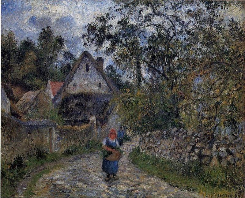 The village path - thatched cottages in Valhermeil - Camille Pissarro