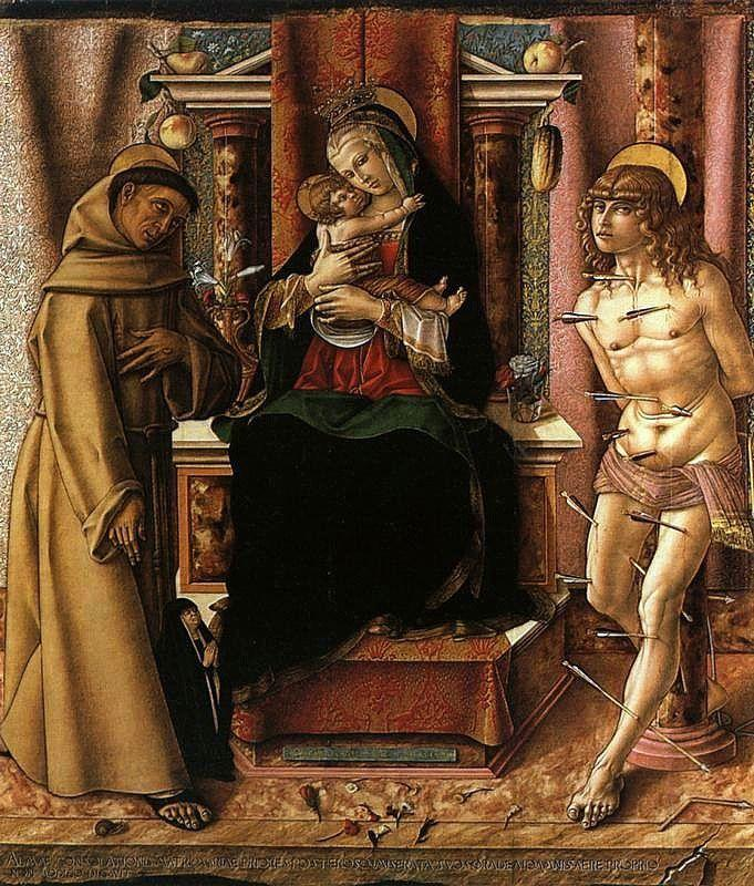 The Virgin and Child with Saints Francis and Sebastian - Carlo Crivelli