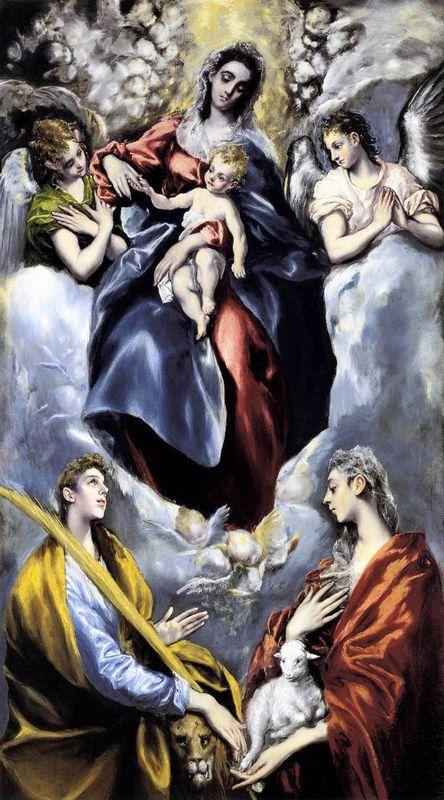 The Virgin and Child with St. Martina and St. Agnes - El Greco