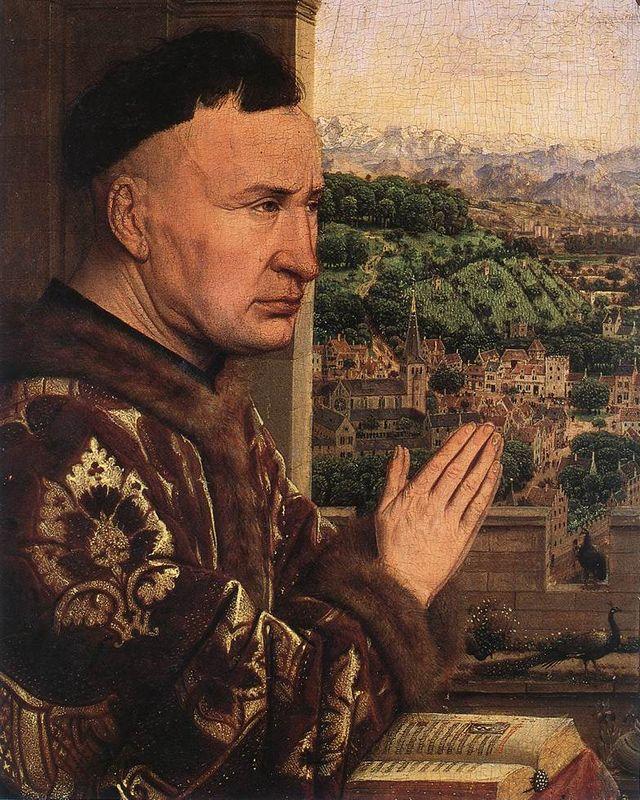 The Virgin of the Chancellor Rolin (detail) - Jan van Eyck