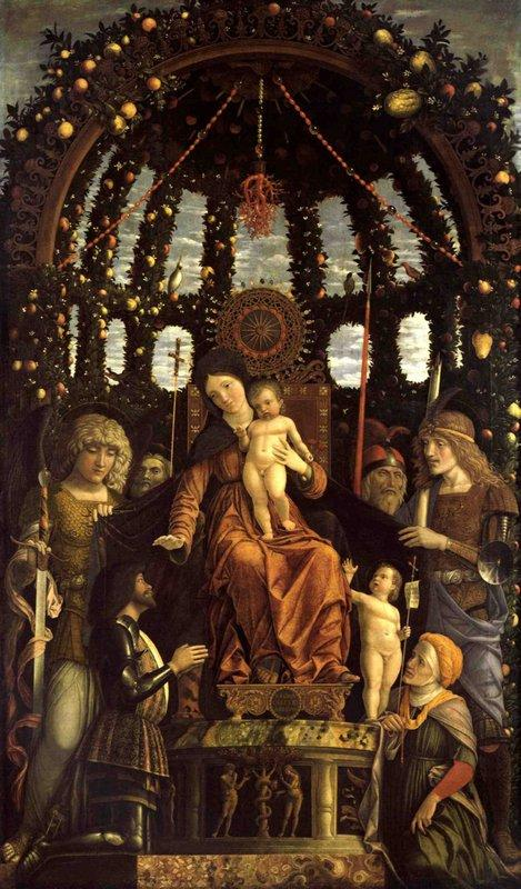 The Virgin of Victory (The Madonna and Child Enthroned with Six Saints and Adored by Gian Francesco II Gonzaga) - Andrea Mantegna
