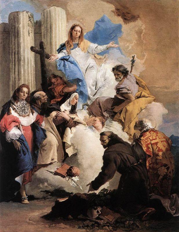 The Virgin with Six Saints - Giovanni Battista Tiepolo