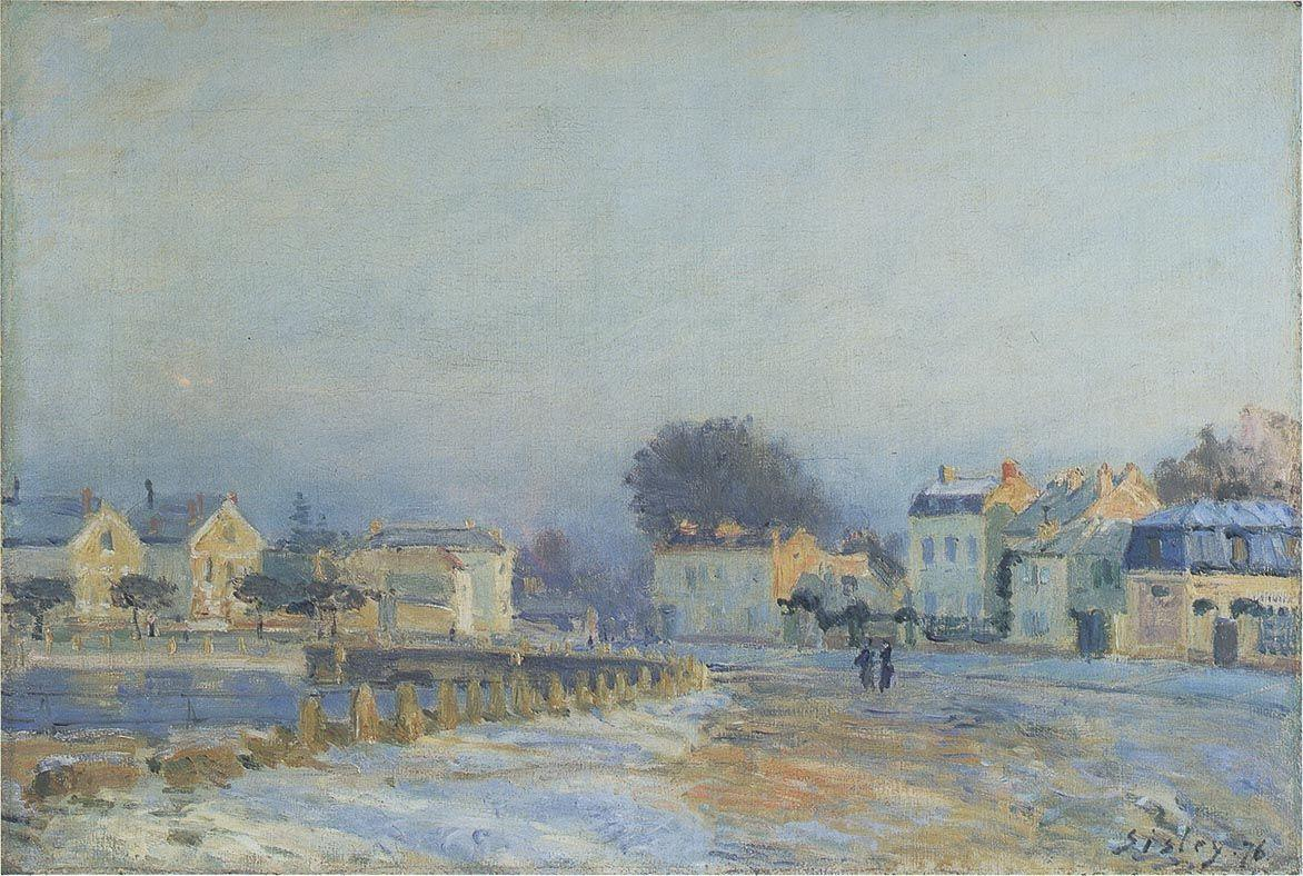 The Watering Place at Marly Le Roi Hoarfrost - Alfred Sisley