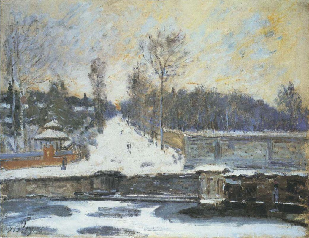 The Watering Place at Marly le Roi in Winter - Alfred Sisley
