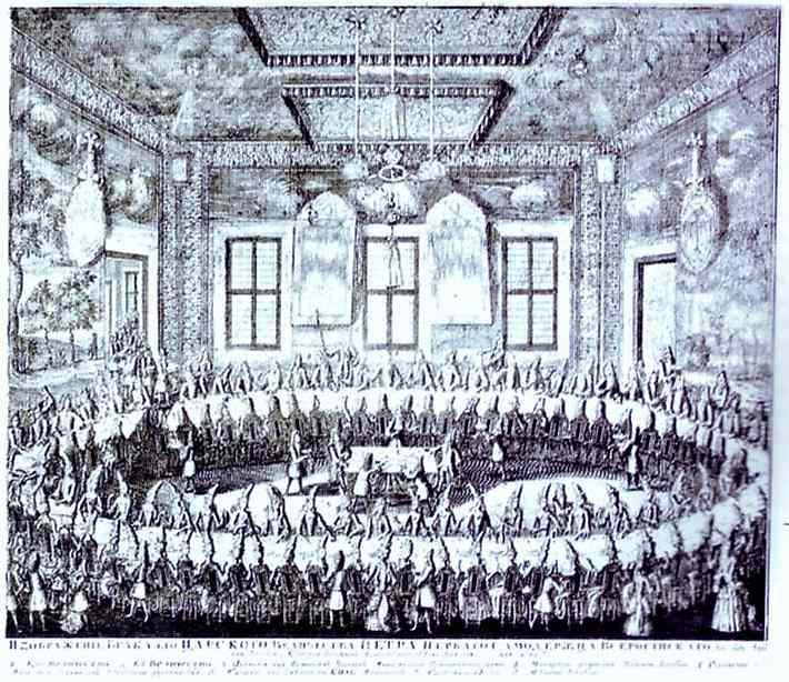 The Wedding Feast of Peter I and Catherine in the Winter Palace of Peter I in St. Petersburg on February 19, 1712 - Alexey Zubov