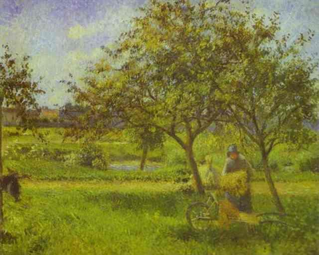 The Wheelbarrow, Orchard - Camille Pissarro