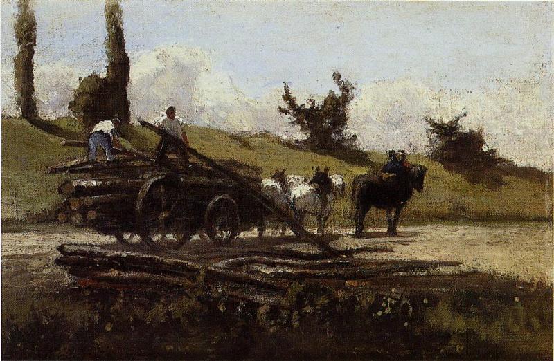 The Wood Cart - Camille Pissarro