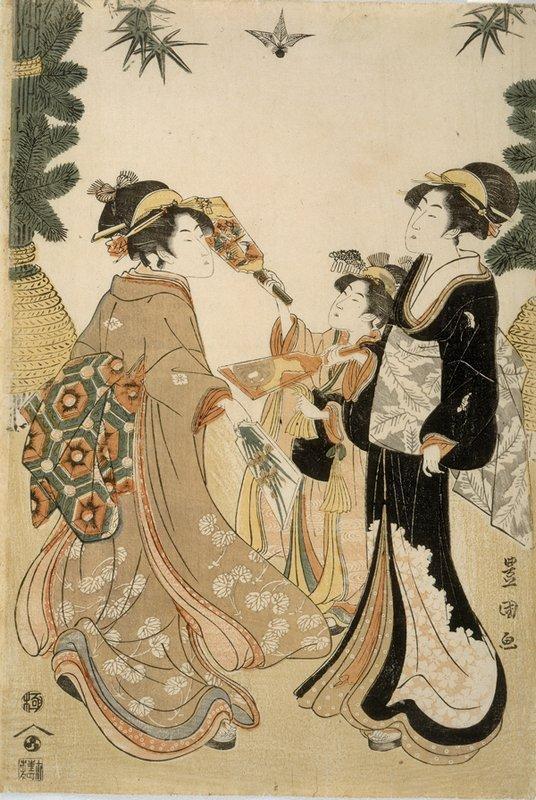 Three Beauties Playing Battledore and Shuttlecock - Utagawa Toyokuni