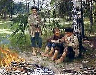 Three Boys in the Wood - Nikolay Bogdanov-Belsky