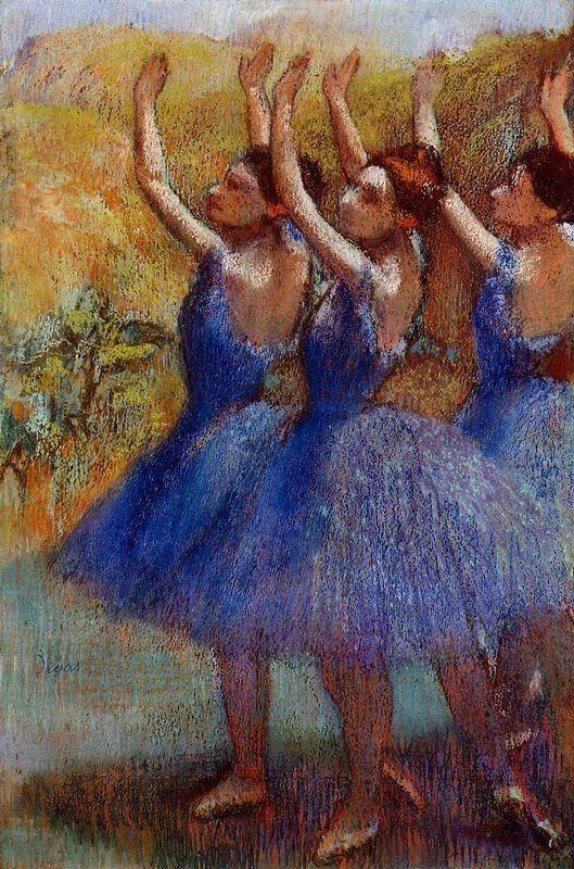 Three Dancers in Purple Skirts - Edgar Degas