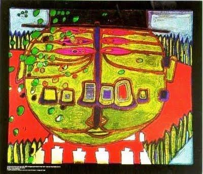 567 Three-Eyed Green Buddha with Hat - Friedensreich Hundertwasser