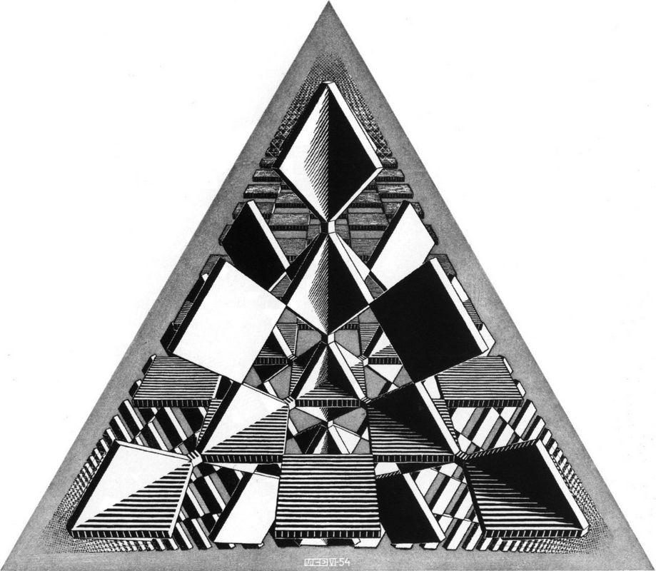 intersecting planes. three intersecting planes - m.c. escher