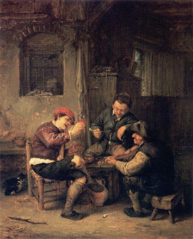 Three Peasants at an Inn - Adriaen van Ostade