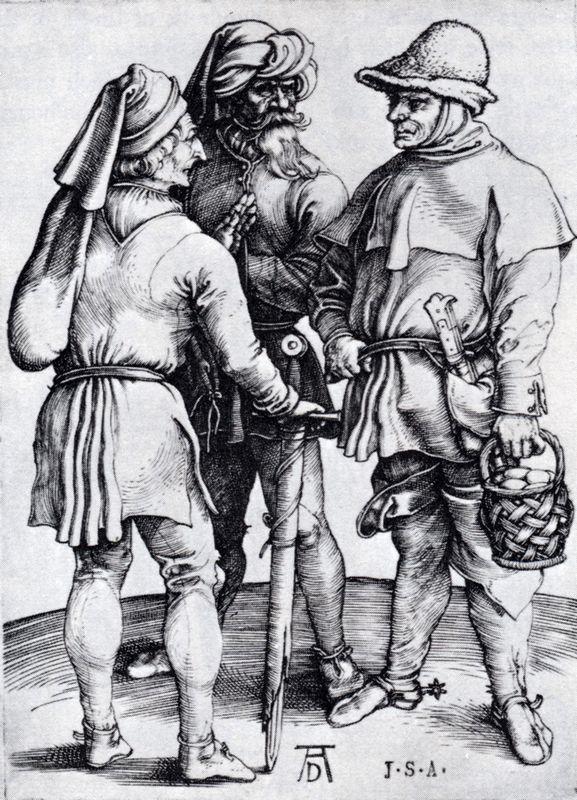 Three Peasants In Conversation - Albrecht Durer