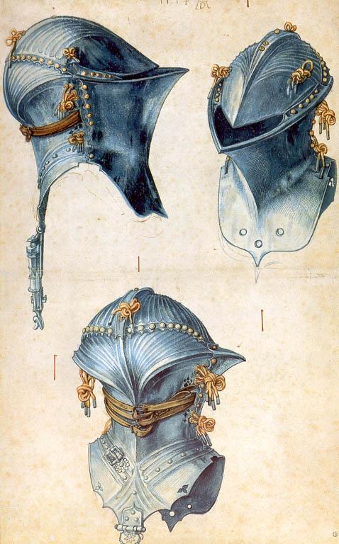 Three studies of a helmet - Albrecht Durer
