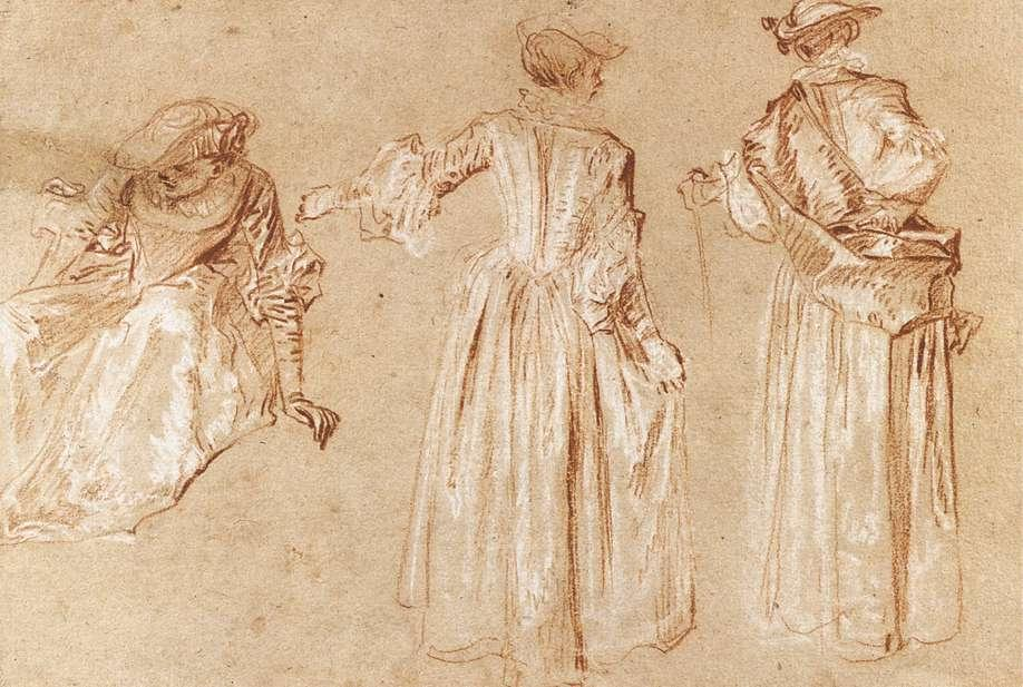 Three Studies of a Lady with a Hat - Antoine Watteau