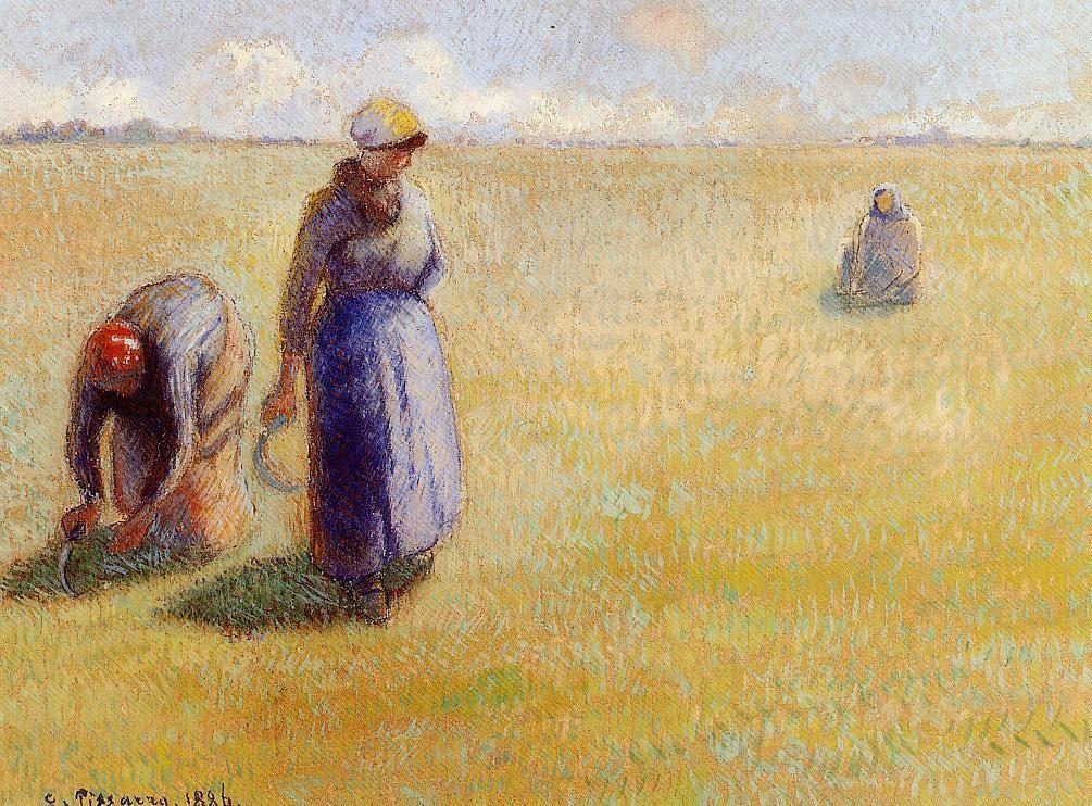 Three Women Cutting Grass - Camille Pissarro