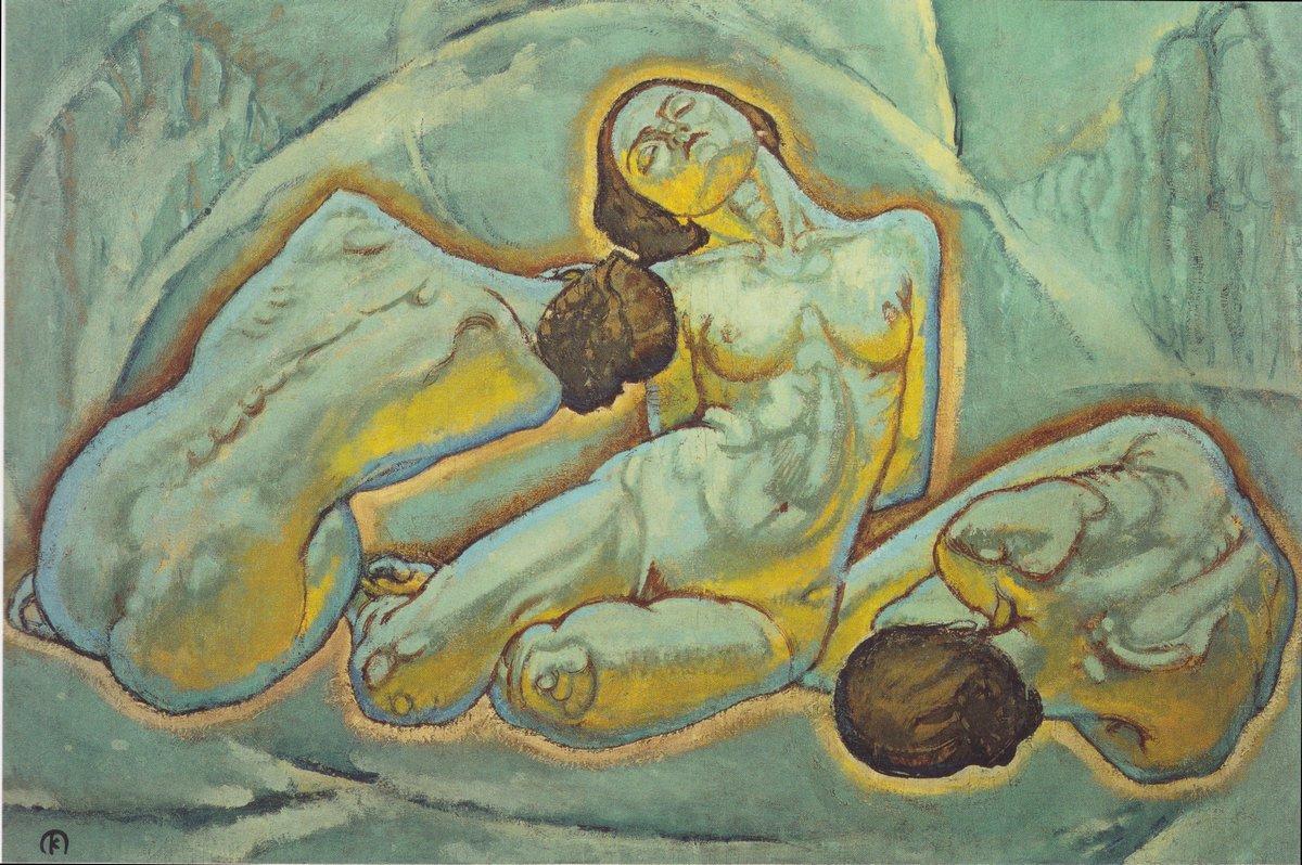 Three women squatting - Koloman Moser