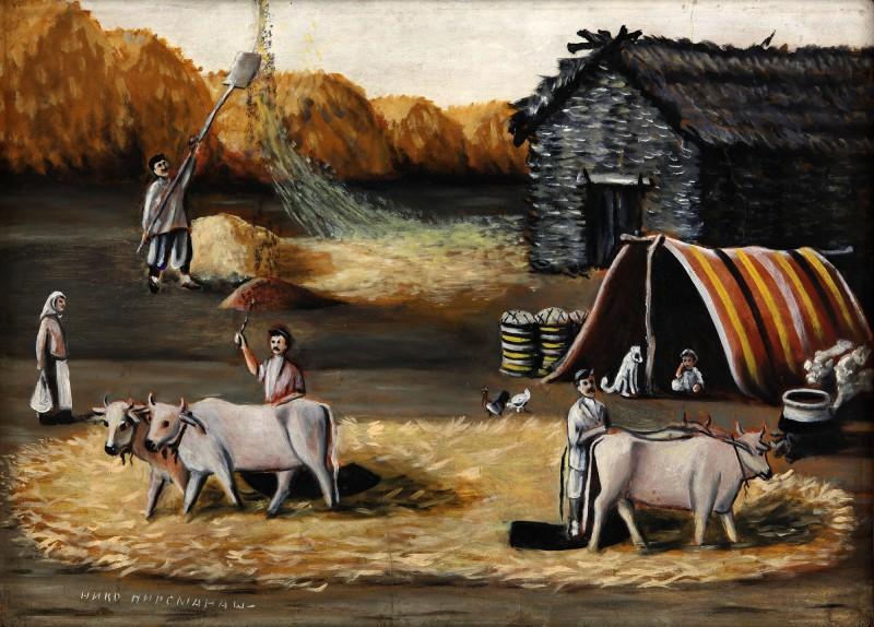 Threshing Yard - Niko Pirosmani