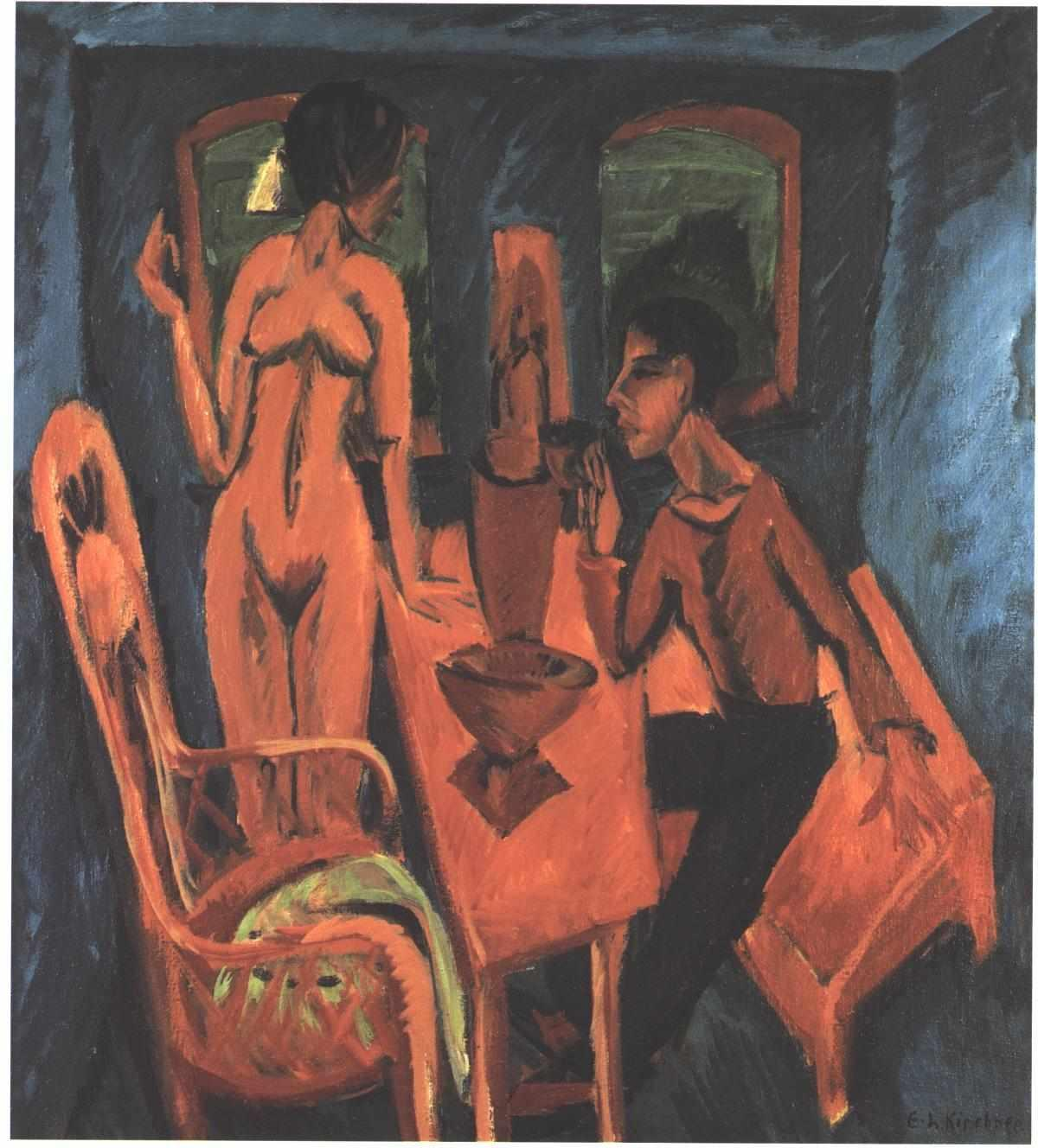 Tower Room. Self Portrait with Erna - Ernst Ludwig Kirchner