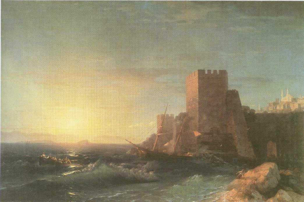 Towers on the Rock Near Bosporus - Ivan Aivazovsky
