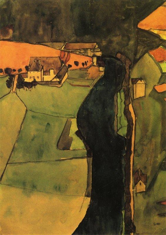 Town on the Blue River - Egon Schiele