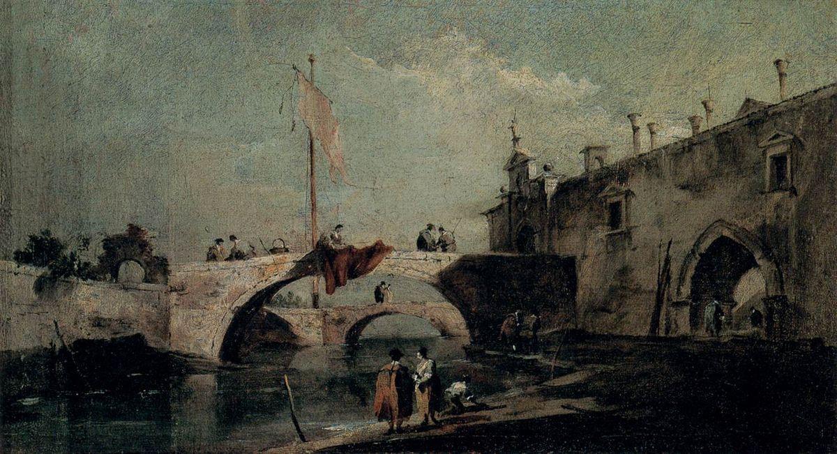 Town with a Bridge - Francesco Guardi