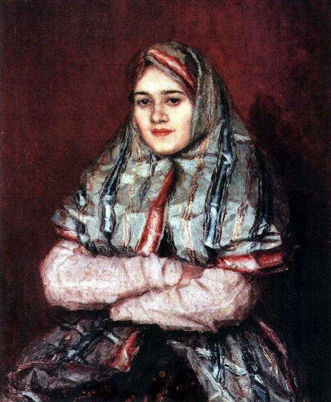 Townswoman. Portrait of Alexandra I. Yemelyanova nee Schrader - Vasily Surikov