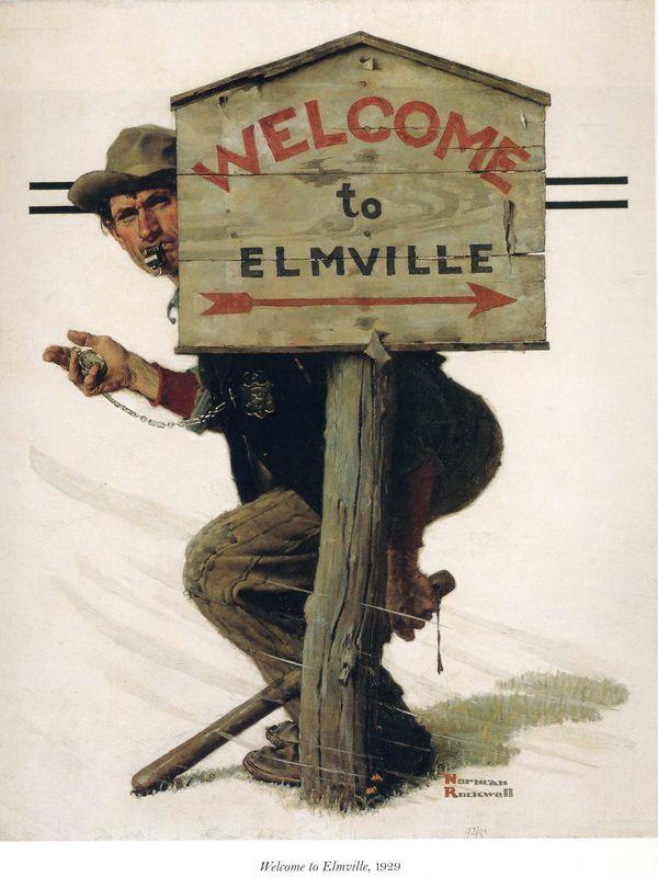 Trap in Elmville - Norman Rockwell