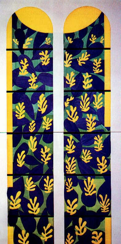 Tree of Life' Stained Glass behind the Altar in the Chapel of the Rosary at Vence  - Henri Matisse
