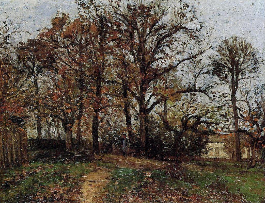 Trees on a Hill, Autumn, Landscape in Louveciennes - Camille Pissarro