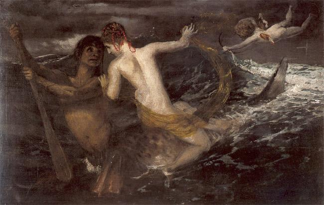 Triton carrying a nereid on his back - Arnold Bocklin