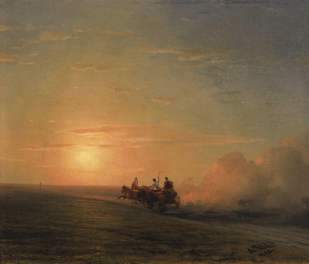 Troika in the steppe - Ivan Aivazovsky