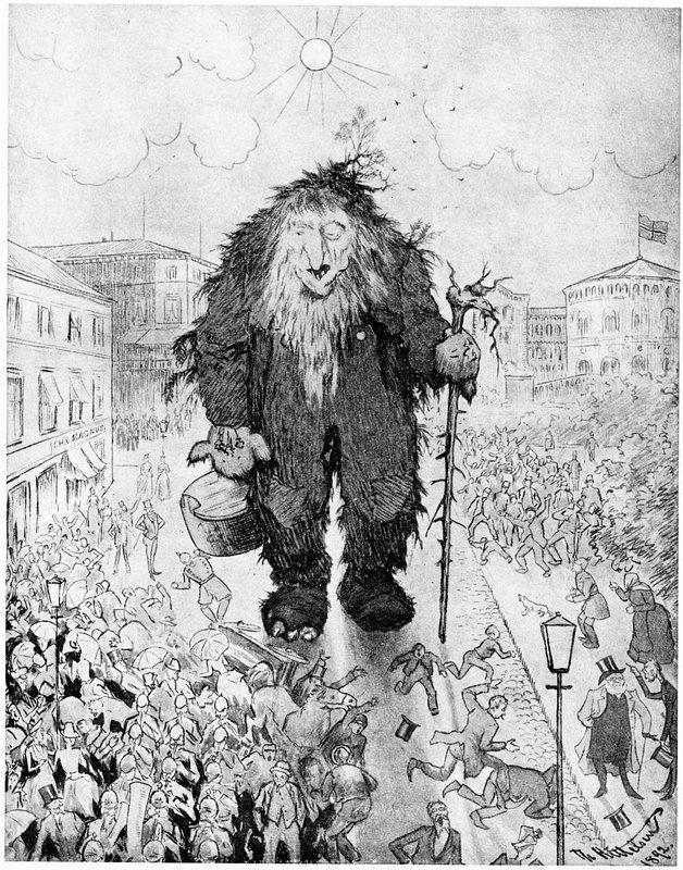 Troll at the Karl Johan Street - Trollet pa Karl Johan - Theodor Severin Kittelsen