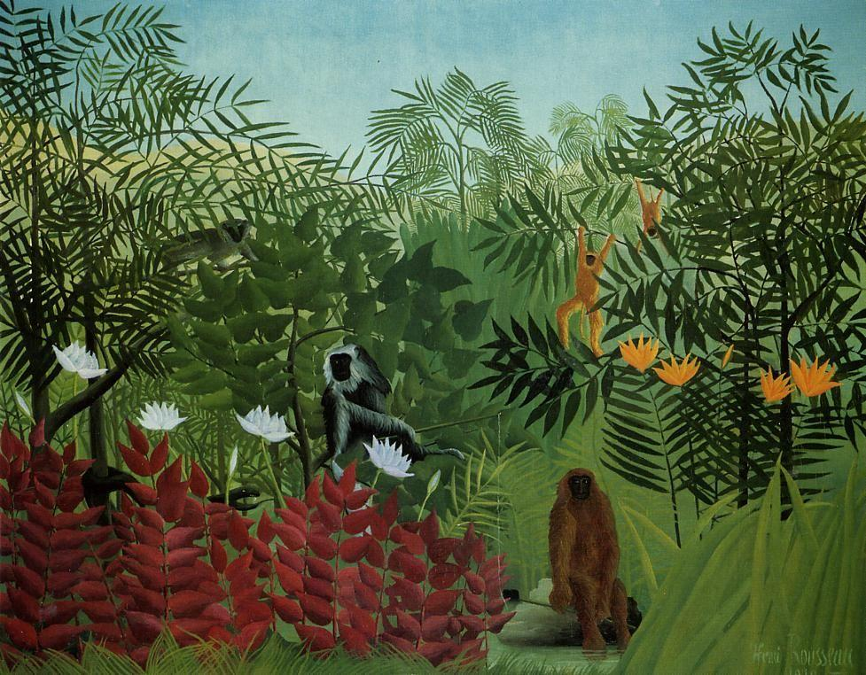 Tropical Forest with Apes and Snake - Henri Rousseau