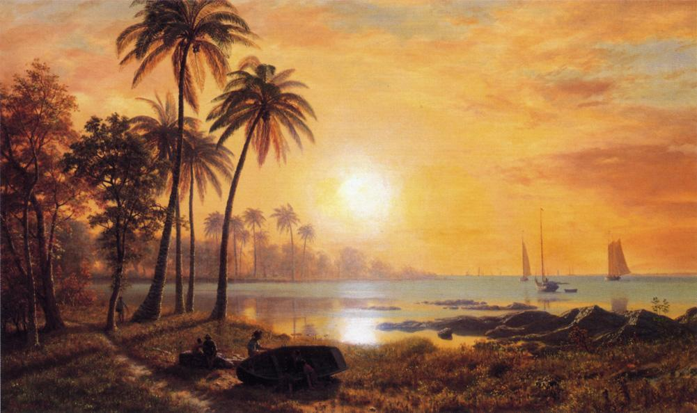 Tropical Landscape with Fishing Boats in Bay - Albert Bierstadt