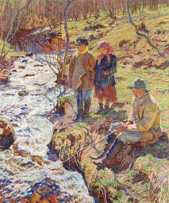 Trout Fishing - Nikolay Bogdanov-Belsky